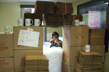 That's right, you better stay away from my mug fort!