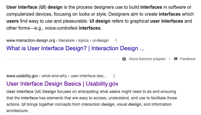 Screenshot of Google search results, showing the US Usability site as the first hit