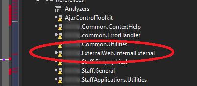 A code base with one DLL marked 'ExternalWeb.InternalExternal'