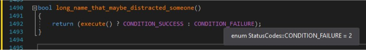 Screenshot of the intellisense which shows CONDITION_FAILURE defined as 2