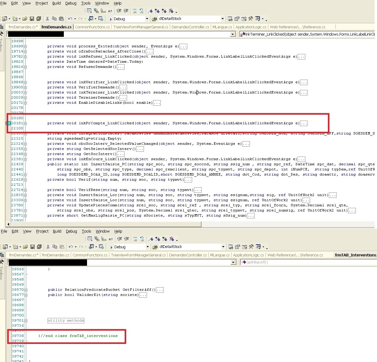 A screengrab of Visual Studio 2003, showing the method lnkPrCompte_LinkClicked is over 2,000 lines in a 39,000 line file