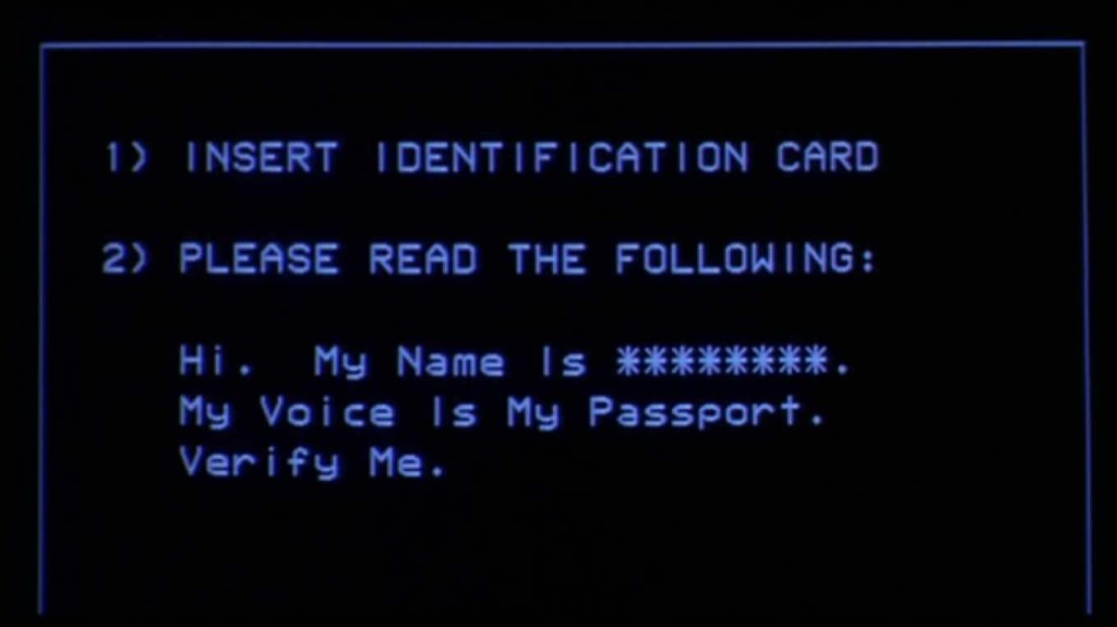 A computer screen showing the prompt 'My name is *****. My voice is my passport. Verify me.