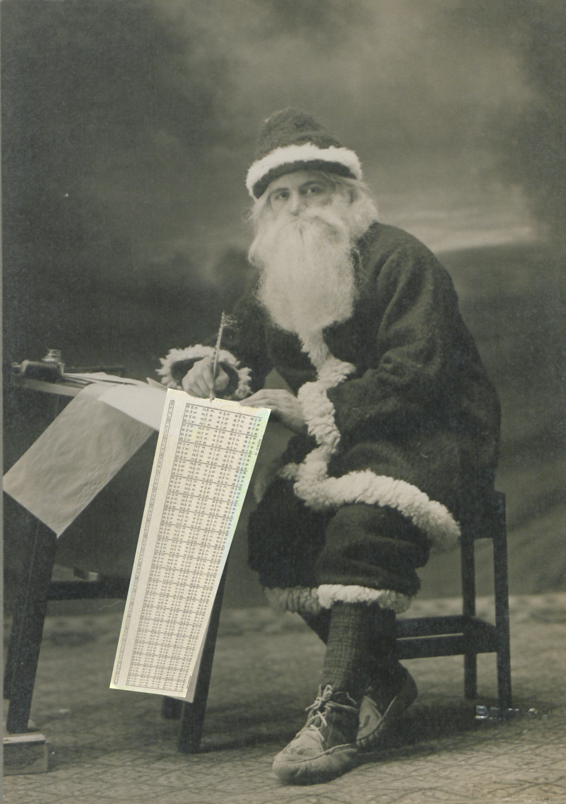 An old-timey photo of Santa Claus where a punch-card has been awkwardly photoshopped in so it looks kind of like he's writing on a punch card. It's a stupid visual gag, and not very good.