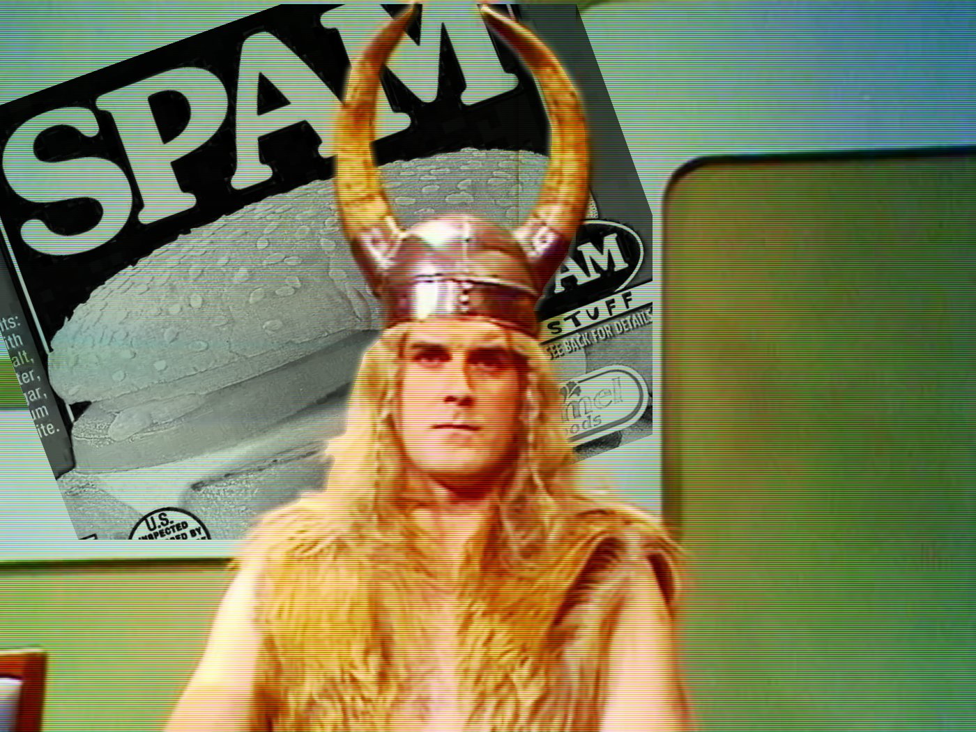 John Cleese, dressed as a viking, in front of a picture of Spam; from the sketch show Monty Python's Flying Circus