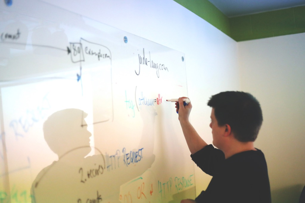 Someone planning things on a whiteboard